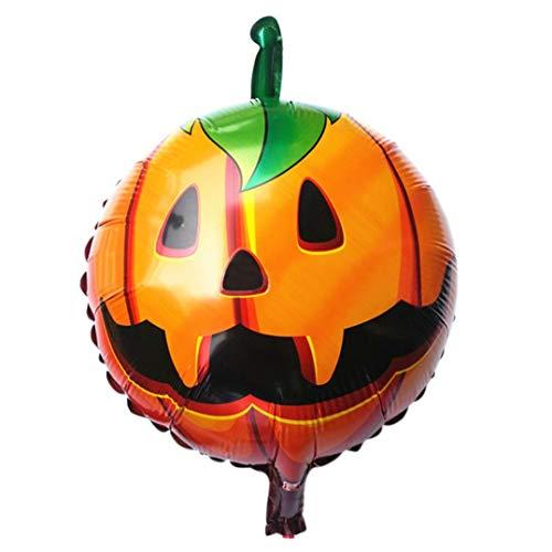 (OdeJoy HalloweenKürbisKopf Dekorativ Folie Ballons Balloons Set Happy Hängedekoration Spooky Star Party Dekore Pumpkin Balloons Party Decor Leuchtende Ballons Dekoration (Orange, 1 PC))