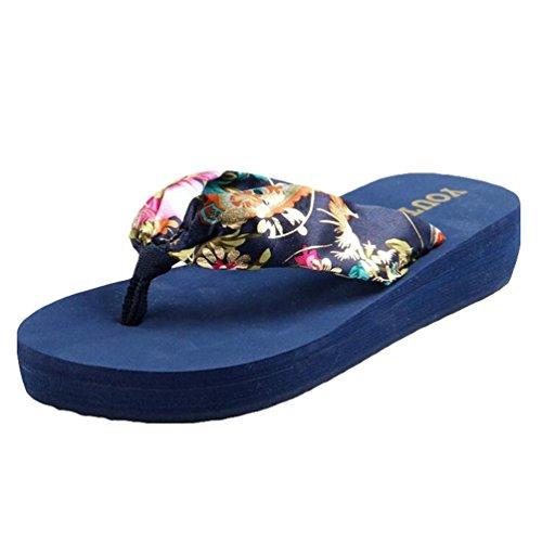 Yiiquan Donna Estate Sandali Pantofole Zeppa Infradito Spiaggia Sandali Blu scuro