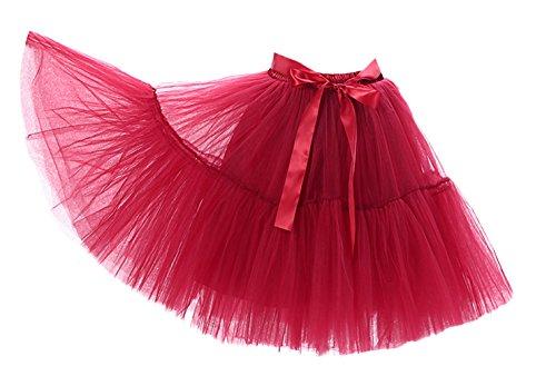 üllrock Damen Vintage Tutu Rock Tanzrock Unterrock 5 Schichten Petticoat Prinzessin Rock Rot One Size (Halloween-tanz-poster)