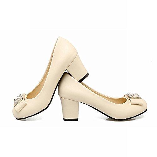 Mee Shoes Damen chunky heels runde Geschlossen Pumps Beige