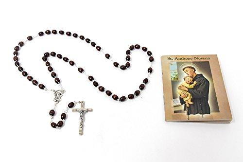 Catholic Gift Shop Ltd Padua Rosenkranz aus Holz und mit der heiligen Anthony, Anthony Novena, Buch mit Lourdes Gebets-Karte