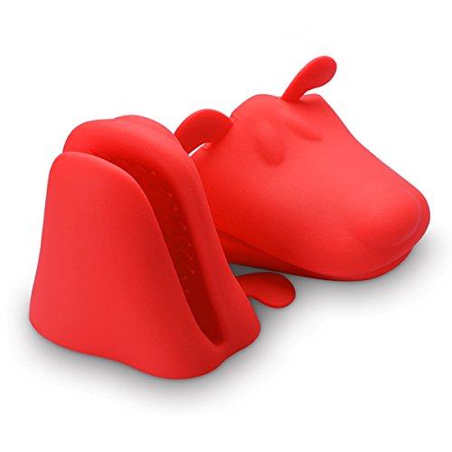 Belmalia 2x Silikon Ofen Topflappen, Silikon Topfhandschuh Ofenhandschuh Grillhandschuh Backhandschuh, hitzeresistent, Motiv: Hund Rot