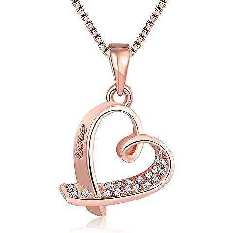 Colgante del amor de Rose de oro del collar del corazón JewelleryClub plateado de cristal Swarovski Elements para la