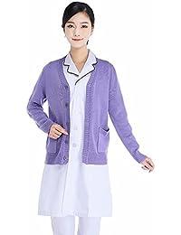 Xuanku El Otoño Y El Invierno Sweater Suéter Cardigan Chaqueta Tejida Collar V Un Médico Espesada