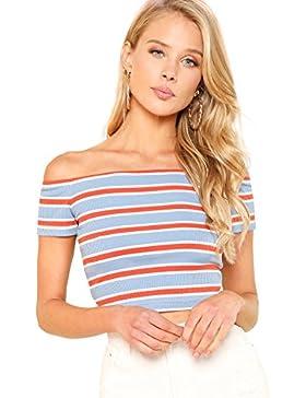 SOLYHUX Mujer Camiseta De Rayas Sin Hombro,Camiseta De Manga Corta, XS-L