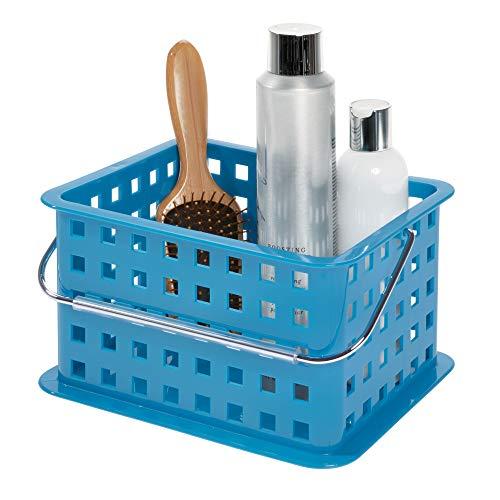 InterDesign Basic corbeille rangement, petit panier salle de bain en plastique pour accessoires de douche et soins, bleu