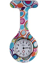 Nurses Fashion Coloured Patterned Silicon Rubber Fob Watches - Colourful Bubbles
