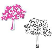 Luluspace - Plantillas de metal para troquelar, diseño de árbol, diseño de pájaros,