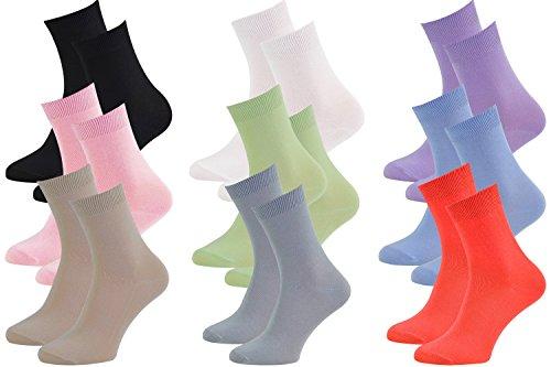 9 pares de calcetines de bambú para señora y caballero, Blanco negro violeta rosa azul pistacho beige frambuesa, suaves y cómodos, fabricados en la UE, Tallas 39 40 41 by Rainbow Socks