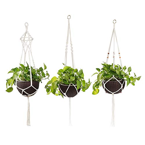 Pflanzenaufhänger Makramee Blumenampel 105cm Baumwollseil Hängeampel Blumentopf Pflanzen Halter Aufhänger für Innen Außen Decken Balkone Wanddekoration 3 Stück -