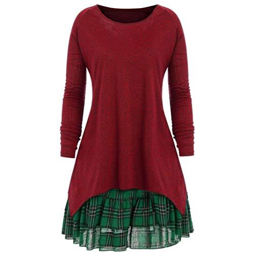 (Beginfu Frauen Casual Sport Herbst Plus Size Plaid Zweiteiler Kleid Rock Bluse Heißer Herbst Frauen Mädchen Casual Langarm Lose Bluse Einfarbig Rundhals Tunika)