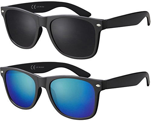 Original La Optica Verspiegelte UV400 Unisex Sonnenbrille Art - Farben, Einzel-/Doppelpacks (Doppelpack Matt Schwarz (Gläser: 1 x Grau, 1 x Grün verspiegelt))