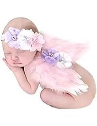 hugestore bebé fotografía Props recién nacido ángel alas de plumas diadema fotografía Props para las niñas rosa Rosa