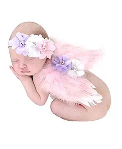 (TININNA Baby Kinder Foto Fotografie Outfits Kostüm Engelsflügel Flügel Neugeborene Kostüm Haarband rosa)