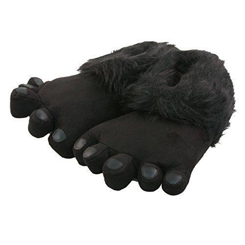 Tierhausschuhe Tier Hausschuhe Big Foot Fell Plüsch Fuß Herren Pantoffel Puschen Schlappen Flauschig weich 41-46, TH-BFOOTB Schwarz