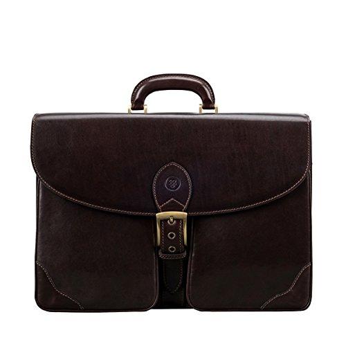 Maxwell-Scott® Luxus Leder Aktentasche für Herren in Dunkelbraun (Tomacelli3)