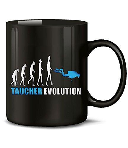 Golebros Taucher Evolution Wassersport 631 Geburtstag Geschenk Fun Tasse Becher Kaffeetasse Kaffeebecher Schwarz-Blau