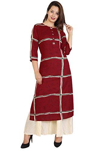 Bright Cotton Women's Rayon Straight Long Kurta (2XL, Maroon)