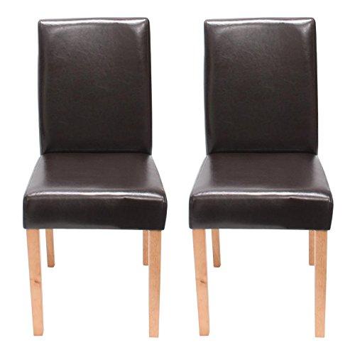 Lot de 2 chaises de séjour Littau, cuir reconstitué marron, pieds clairs