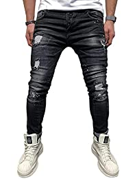 BMEIG Jeans Skinny da Uomo Strappati Stretch Denim Pants Distressed Ripped  Sfilacciato Slim Fit Pantaloni Patchwork 32dd88cf10a6