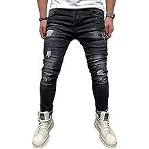 BMEIG Jeans Ajustados Hombre Rotos Pantalones de Mezclilla Elásticos Slim  Fit Ripped Desgastados con Bolsillo Trabajo fe205474319