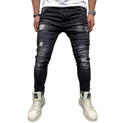 Bmeig jeans skinny da uomo strappati stretch denim pants distressed ripped sfilacciato slim fit pantaloni patchwork pocket hiphop jeans s-3xl nero