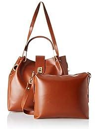 Verobelle Women's Handbag & Sling Bag Combo (Tan) (Set of 2)