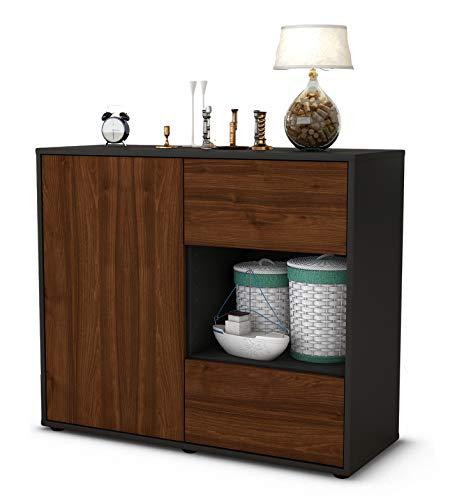 Stil.Zeit Sideboard Danica/Korpus anthrazit matt/Front Holz-Design Walnuss (92x79x35cm) Push-to-Open Technik & Leichtlaufschienen