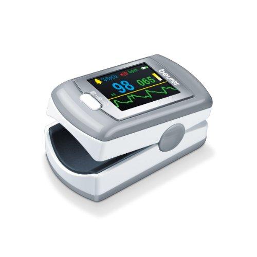 Beurer PO 80 - Pulsioxímetro de dedo, pantalla XL con 6 vistas, color blanco y plata