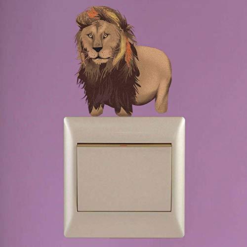 KIHUI Aquarell Wildlife Lion Schalter Aufkleber Wandaufkleber Persönlichkeit PVC Wohnzimmer Aufkleber -