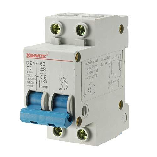 Din Mount Circuit Breaker (ZCHXD 2 Poles 6A 400V Low-voltage Miniature Circuit Breaker Din Rail Mount DZ47-63 C6)