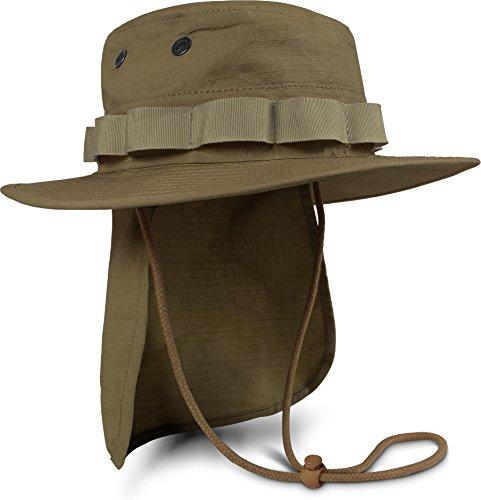 Sommer Woodland Tarnmuster (Boonie Hat Krempen Outdoor Hut 'Junglescout' mit abnehmbarem Nackenschutz für den Sommer Farbe Coyote Größe XL)