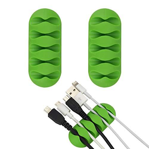[2Pack] wisdompro® Kabel Clip Halterung-Super funktionell und Low-Profile Design, mit 3M Selbstklebende Rückseite, Sie können den Mess von Kabeln/Schnüre, um Ihr Zuhause, Büro Workspace grün -