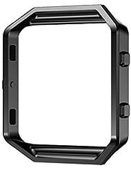 Fitbit Blaze Frame, PUGO TOP® Edelstahl Ersatz Metallrahmen für Fitbit Blaze Smartwatch (schwarz)
