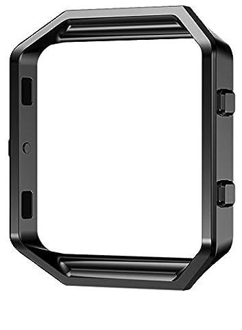 PUGO TOP Accessoire Cadre en Métal-Remplacement du Bracelet Luxe Cadre de Montre de Rechange Acier Inoxydable Metal Frame Shell Holder Bumper pour Fitbit Blaze SmartWatch-noir