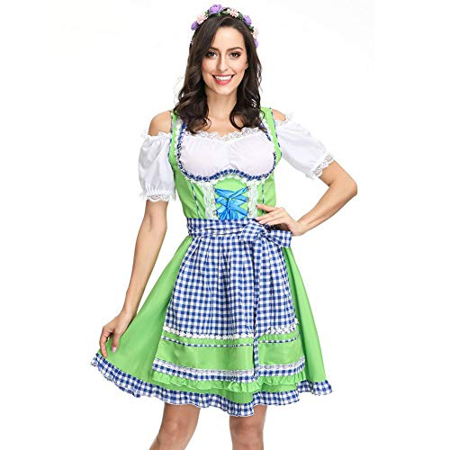 Story of life Deutsch Oktoberfest Bier Kostüm Kellnerin Apron Maid Costume Magd Kleidung Bayerischen Traditionellen Halloween-Kostüm Plaid Kleid Weiblich Damen,Green,M (Plaid Womens Robe)