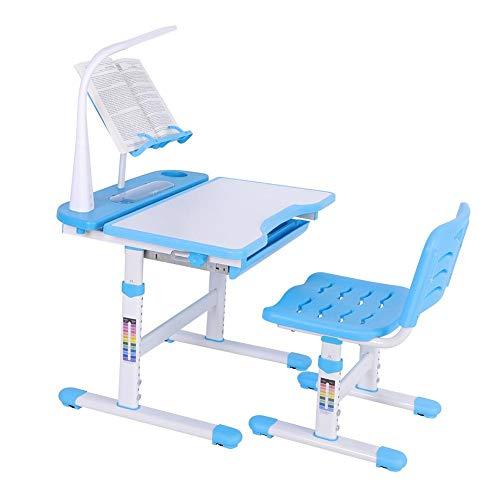 Kinderschreibtisch, Höhenverstellbarer Kinderschreibtisch und -Stuhl mit Touch-Control-Lampe, Leserahmen und Erweiterungsplatine, für Kinder 3-12 Jahre, Blau