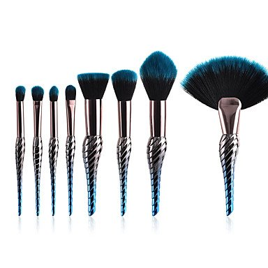 8-Pack Puderpinsel Erröten Pinsel Make-Up Pinsel Set Kunsthaar Professionelle Farbverlauf Eloxiert...