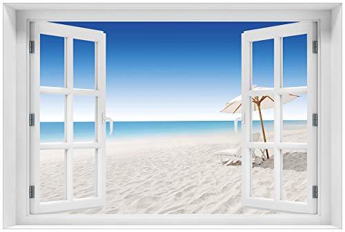 Wallario selbstklebendes Poster - Sonnenliege am weißen Strand unter blauem Himmel in...