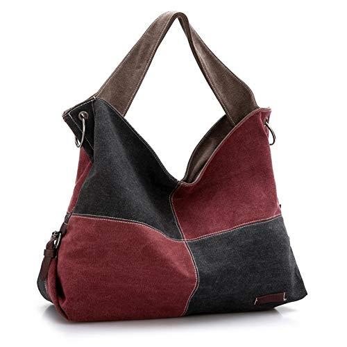 Borsa a tracolla in tela casual da donna borsa vintage borsa a tracolla di grande capacità con pannelli a quadri (color : black handbag, size : 1)