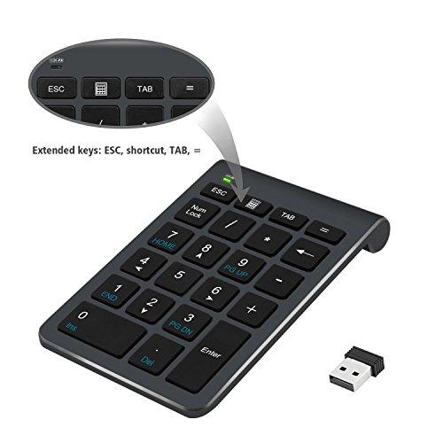Tastiera Numerica, Alcey Tastiera Numerica Wireless 22 Tasti con Ricevitore Mini USB 2.4G per iMac, MacBooks, PC e Laptop – Nero