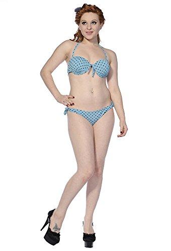Banned Apparel-da donna a pois Retro Bikini Dusty Blu Rockabilly Swimsuit Dusty Blue XL