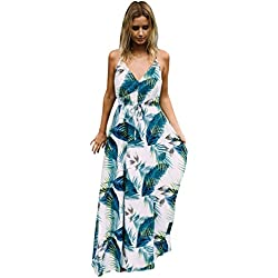 Fuxiang Vestidos Boho Largos Chic Mujer Verano Playa Estampado Maxi Bohemios Vestido Señora Strappy Imprimen V Cuello Vestir Patrón Casual Etnicos Bohemio Dress Blanco Blanco Azul L