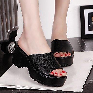 zhENfu donna mocassini & amp; Slip-Ons sandali Comfort PU molla Casual Bianco Nero 1A-1 3/4in White