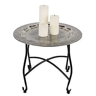 albena shop 73-104 Mani oriental tea table metal ø 50 cm/H 41 cm black/silver