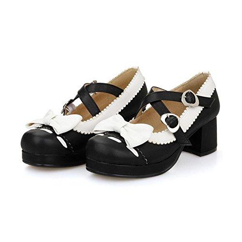 VogueZone009 Damen Pu Leder Gemischte Farbe Quadratisch Zehe Mittler Absatz Pumps Schuhe Schwarz
