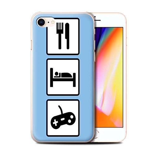 Stuff4 Hülle / Case für Apple iPhone 8 / Fußball/Blau Muster / Essen/Schlaf Kollektion Spiel/Gaming/Blau