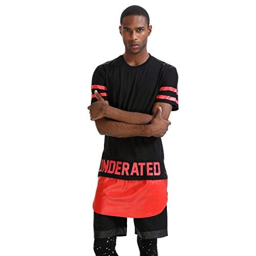 Pizoff Unisex Hip Hop Langes T-Shirt mit Medusa Druckmuster und Reißverschluss K4102-BLACK