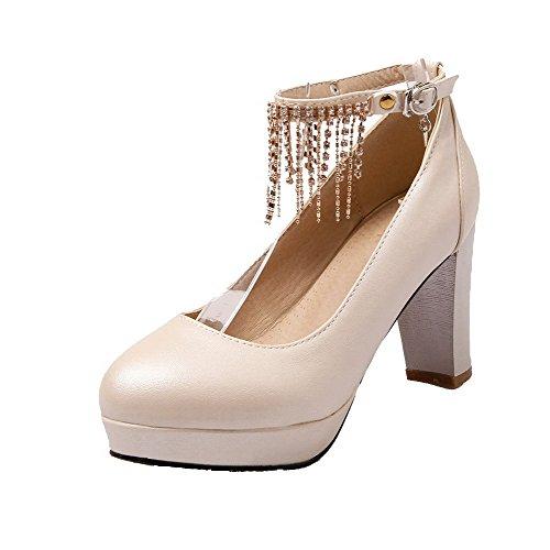 Mulheres Allhqfashion Fivela Bombas De Salto Alto De Couro Pu Bico Redondo Puro Creme De Sapatos