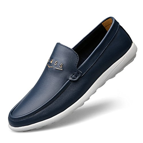 Minitoo Boys Mens Rubber Sole Slip-On Synthetic Penny Loafers Dark Blue